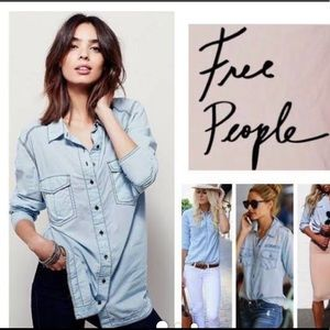 Free People Last Chance Button Down L/S Shirt LG